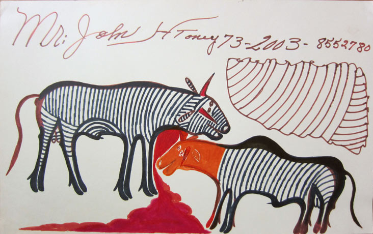<strong>Bullfight </strong><br/> Paint and Markers on Posterboard / 36 x 46 cm / 2003
