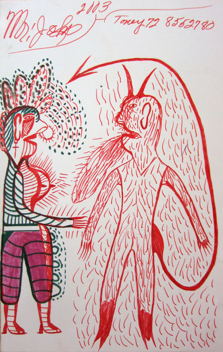 <strong>The Devil wants her</strong><br/>Paint and Markers on Posterboard / 46 x 36cm / 2003